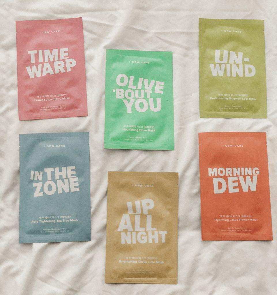 I Dew Care Let's Get Sheet Faced Sheet Mask Set Olive Bout You Sheet Masks (2 ct) Time Wrap Sheet Masks (2 ct) Un-Wind Sheet Masks (2 ct) Morning Dew Sheet Masks (2 ct) In The Zone Sheet Masks (3 ct) Up All Night Sheet Masks (3 ct)